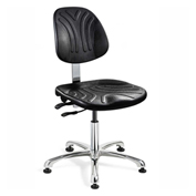 Bevco 7051D Dura Polyurethane Chair, Aluminum Base, Mushroom Glides, Black