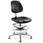 Bevco 7350D Dura Polyurethane Chair, Aluminum Base, Mushroom Glides, Black