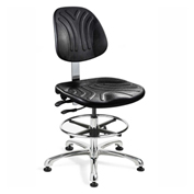 Bevco 7351D Dura Polyurethane Chair, Aluminum Base, Mushroom Glides, Black