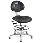 Bevco 7351E Everlast E Polyurethane ESD Chair, Aluminum Base, ESD Mushroom Glides, Black