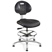 Bevco 7550E Everlast E Polyurethane ESD Chair, Aluminum Base, ESD Mushroom Glides, Black