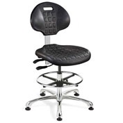 Bevco 7551-BLK Everlast Polyurethane Chair, Aluminum Base, Mushroom Glides, Black