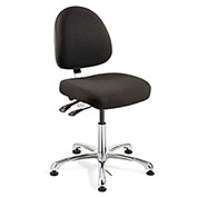 Bevco 9051M-E-F-BLK Integra-ESD Fabric Upholstered Chair, Medium-Back, Aluminum Base, Black