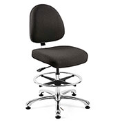 Bevco 9350M-E-F-BLK Integra-ESD Fabric Upholstered Chair, Medium-Back, Aluminum Base, Black