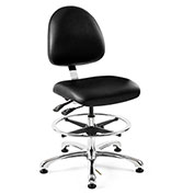 Bevco 9350M-S-V-BLK Integra Vinyl Upholstered Chair, Medium-Back, Aluminum Base, Black