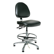 Bevco 9351M-E-V-BLK Integra-ESD Vinyl Upholstered Chair, Medium-Back, Aluminum Base, Black