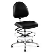 Bevco 9351M-S-V-BLK Integra Vinyl Upholstered Chair, Medium-Back, Aluminum Base, Black