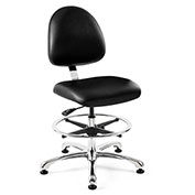 Bevco 9550M-S-V-BLK Integra Vinyl Upholstered Chair, Medium-Back, Aluminum Base, Black