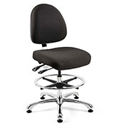 Bevco 9551M-S-F-BLK Integra Fabric Upholstered Chair, Medium-Back, Aluminum Base, Black