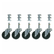"Bevco CAR5-2I Single 2"" Rubber Wheel Casters, Set of 5"