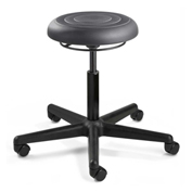 Bevco J3000-GRP ErgoLux Jr Backless Stool, Graphite Polyurethane Seat, Black Nylon Base