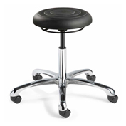 Bevco J3050-BLK ErgoLux Jr Backless Stool, Black Polyurethane Seat, Aluminum Base