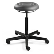 Bevco J3300-GRP ErgoLux Jr Backless Stool, Graphite Polyurethane Seat, Black Nylon Base