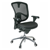 Bevco M6088MU Ergonomic Executive Mesh Chair w/ Upholstered Fabric Seat, Black