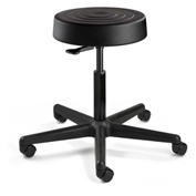 Bevco S3000-BLK ErgoLux Backless Stool, Black Polyurethane Seat, Black Nylon Base