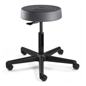 Bevco S3000-GRP ErgoLux Backless Stool, Graphite Polyurethane Seat, Black Nylon Base