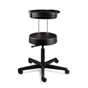 Bevco S3000R-BLK ErgoLux Stool w/ Backrest, Black Polyurethane Seat, Black Nylon Base