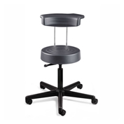 Bevco S3000R-GRP ErgoLux Stool w/ Backrest, Graphite Polyurethane Seat, Black Nylon Base