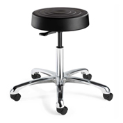 Bevco S3050-BLK ErgoLux Backless Stool, Black Polyurethane Seat, Aluminum Base