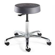 Bevco S3050-GRP ErgoLux Backless Stool, Graphite Polyurethane Seat, Aluminum Base