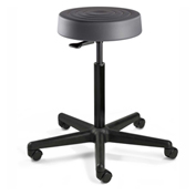 Bevco S3300-GRP ErgoLux Backless Stool, Graphite Polyurethane Seat, Black Nylon Base