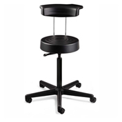 Bevco S3300R-BLK ErgoLux Stool w/ Backrest, Black Polyurethane Seat, Black Nylon Base