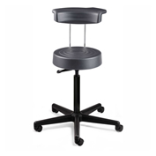 Bevco S3300R-GRP ErgoLux Stool w/ Backrest, Graphite Polyurethane Seat, Black Nylon Base
