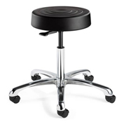 Bevco S3350-BLK ErgoLux Backless Stool, Black Polyurethane Seat, Aluminum Base