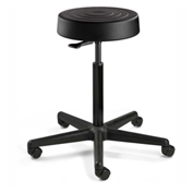 Bevco S3500-BLK ErgoLux Backless Stool, Black Polyurethane Seat, Black Nylon Base