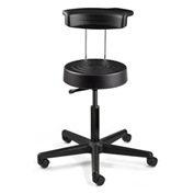 Bevco S3500R-BLK ErgoLux Stool w/ Backrest, Black Polyurethane Seat, Black Nylon Base