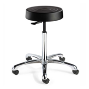 Bevco S3550-BLK ErgoLux Backless Stool, Black Polyurethane Seat, Aluminum Base