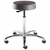 Bevco S3550-GRP ErgoLux Backless Stool, Graphite Polyurethane Seat, Aluminum Base