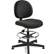 Bevco Fabric Office Stool - Tall-Height with Glides and Footring - Black - Lexington Series