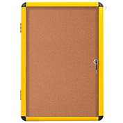 "MasterVision Industrial Enclosed Cork Bulletin Board- Yellow Aluminum Frame- 28.35"" x 38.62""- 1 Door"