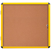 "MasterVision Industrial Enclosed Cork Bulletin Board- Yellow Aluminum Frame- 37.01"" x 50.71""- 1 Door"