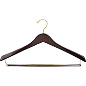 "17"" Wood Hanger for Men's Suit, Standard Hook, Walnut w/ Brass Hardware, 100/Case"