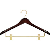 "17"" Wood Hanger for Ladies' Suit/Skirt, Standard Hook, Walnut w/ Brass Hardware, 100/Case"
