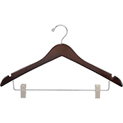 "17"" Wood Hanger for Ladies' Suit/Skirt, Standard Hook, Walnut w/ Chrome Hardware, 100/Case"