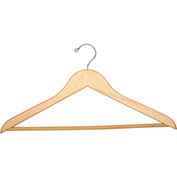 "18"" Flat Wood Hanger for Men's Suit, Standard Hook, 100/Case"