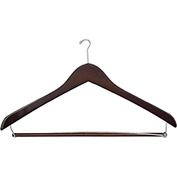 "17"" Wood Hanger for Men's Suit, Mini-Hook, Walnut w/ Chrome Hardware, 100/Case"