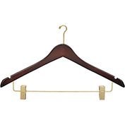 "17"" Wood Hanger for Ladies' Suit/Skirt, Mini-Hook, Walnut w/ Brass Hardware, 100/Case"