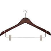 "17"" Wood Hanger for Ladies' Suit/Skirt, Mini-Hook, Walnut w/ Chrome Hardware, 100/Case"