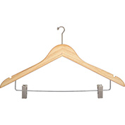 "18"" Wood Hanger for Ladies' Suit/Skirt, Mini-Hook, 100/Case"