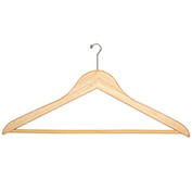 "18"" Flat Wood Hanger for Men's Suit, Mini-Hook, 100/Case"