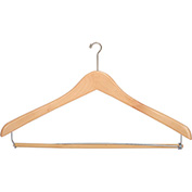 "17"" Wood Hanger for Men's Suit, Mini-Hook, Natural w/ Chrome Hardware, 100/Case"