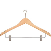 "17"" Wood Hanger for Ladies' Suit/Skirt, Mini-Hook, Natural w/ Chrome Hardware, 100/Case"