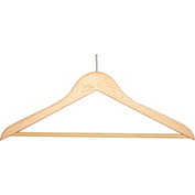 "18"" Flat Wood Hanger for Men's Suit, Balltop Hook, 100/Case"