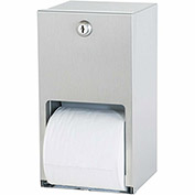 Bradley Standard Toilet Tissue Dispenser Dual Roll, Vertical Stainless Steel - 5402-000000 - Pkg Qty 2