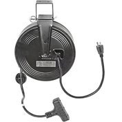 Bayco&#174 SL-801 Triple Tap Extension Cord, Retractable Reel, 30'L Cord, 14/3 GA, BLK