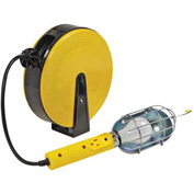 Bayco® Pro Trouble Light W/Tap SL-840, Retractable Reel, 40'L Cord, 16/3 GA, YW/BLK, 4-PK - Pkg Qty 4